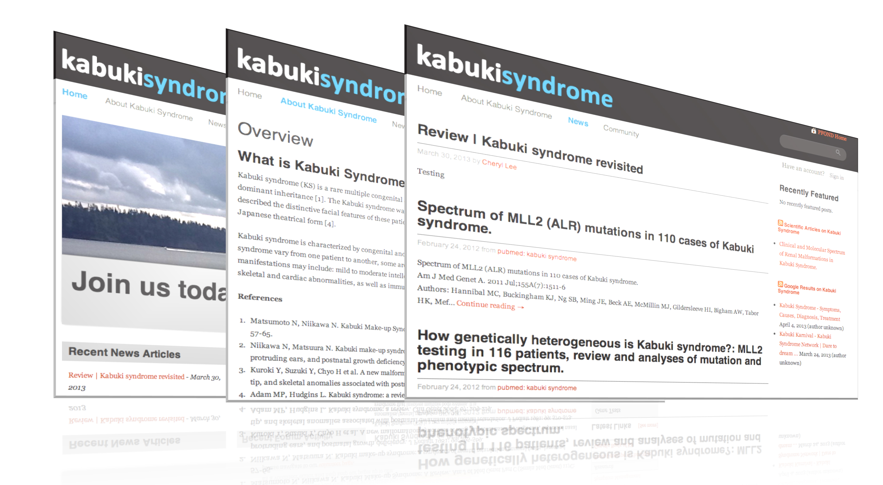 View This Figure Figure 2 Selectedponents Of A Pfond Site For Kabuki  Syndrome (home Page, About Page, News Page)